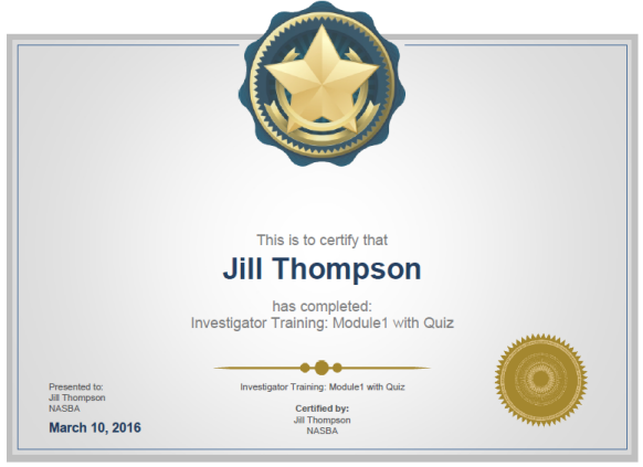 Investigator Certificate sample
